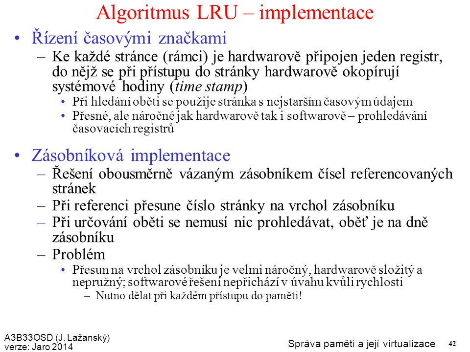 Algoritmus LRU – implementace