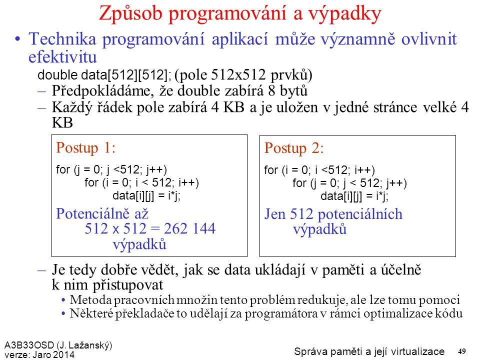 Způsob programování a výpadky