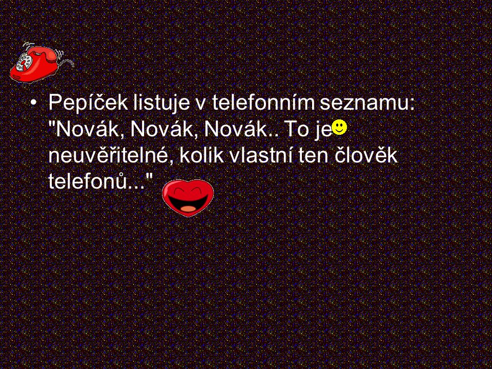 Pepíček listuje v telefonním seznamu: Novák, Novák, Novák