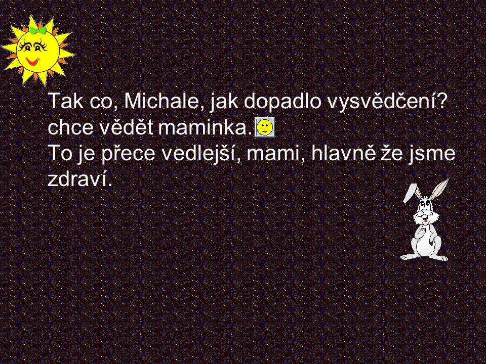Tak co, Michale, jak dopadlo vysvědčení. chce vědět maminka