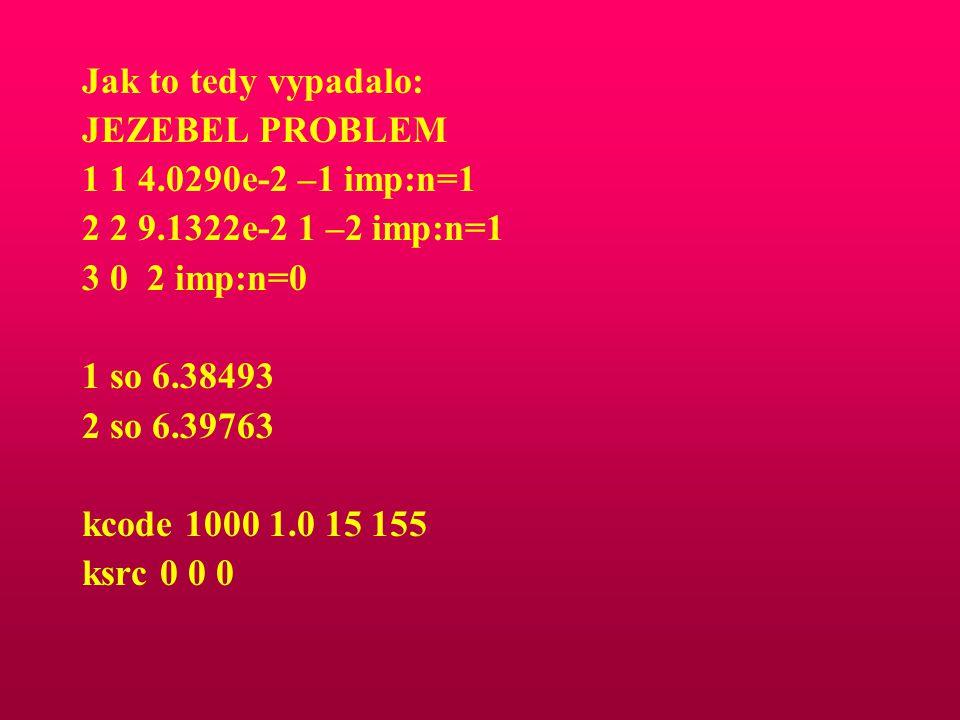 Jak to tedy vypadalo: JEZEBEL PROBLEM. 1 1 4.0290e-2 –1 imp:n=1. 2 2 9.1322e-2 1 –2 imp:n=1. 3 0 2 imp:n=0.