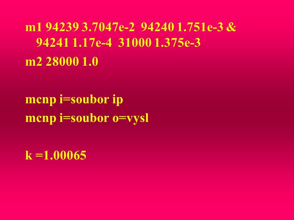m1 94239 3.7047e-2 94240 1.751e-3 & 94241 1.17e-4 31000 1.375e-3 m2 28000 1.0. mcnp i=soubor ip.