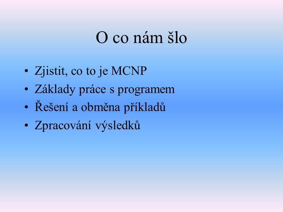 O co nám šlo Zjistit, co to je MCNP Základy práce s programem