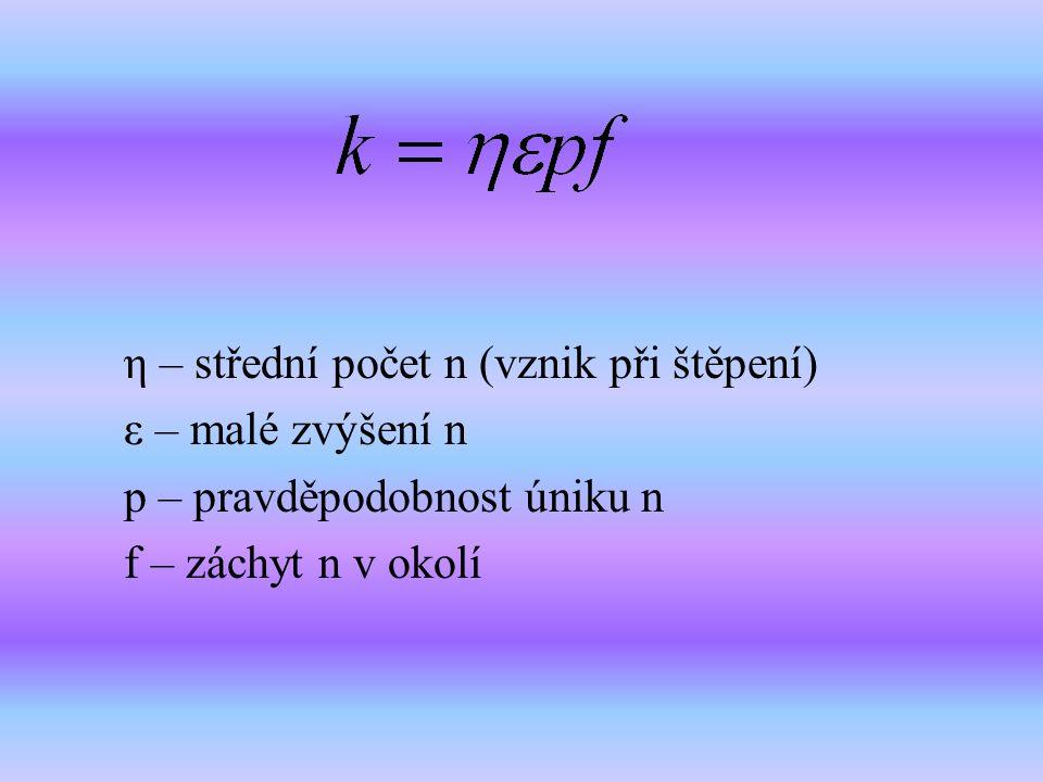 η – střední počet n (vznik při štěpení)