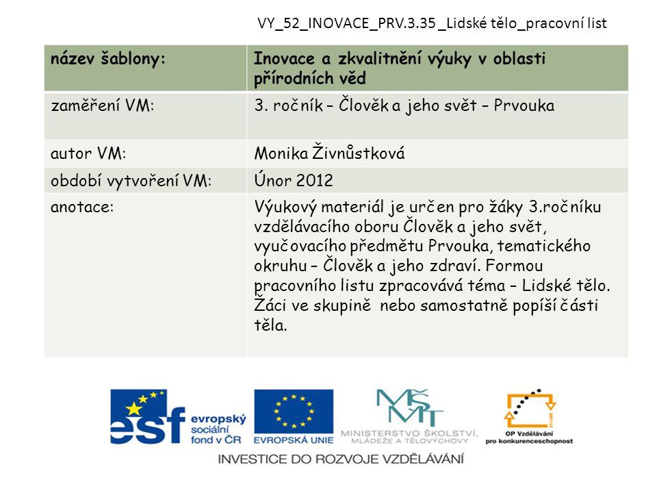 VY_52_INOVACE_PRV.3.35 _Lidské tělo_pracovní list