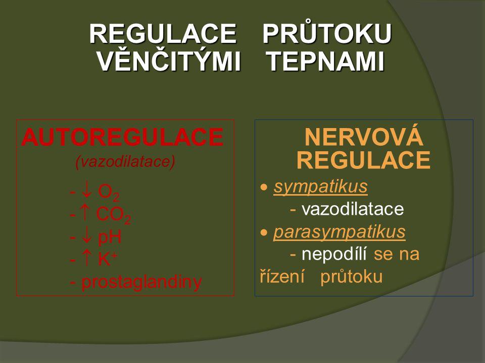 REGULACE PRŮTOKU VĚNČITÝMI TEPNAMI