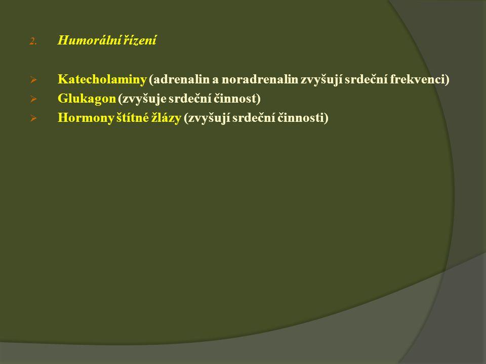 Humorální řízení Katecholaminy (adrenalin a noradrenalin zvyšují srdeční frekvenci) Glukagon (zvyšuje srdeční činnost)