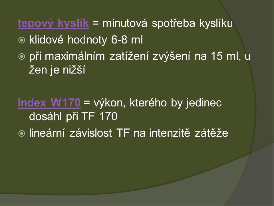 tepový kyslík = minutová spotřeba kyslíku