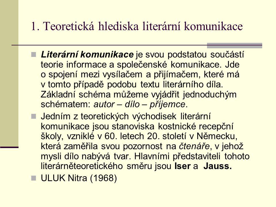 1. Teoretická hlediska literární komunikace