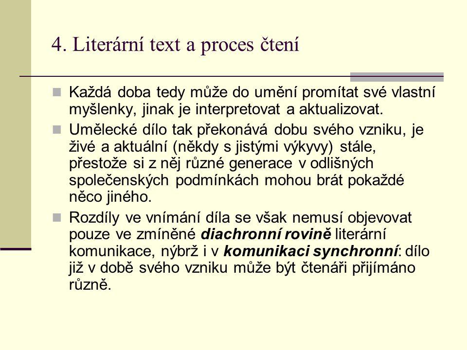 4. Literární text a proces čtení
