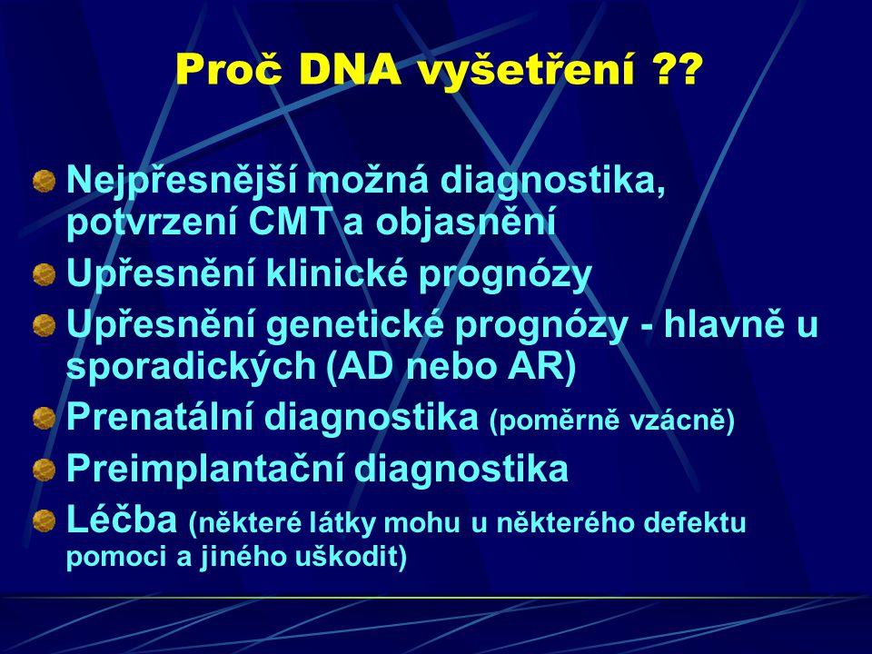 Proč DNA vyšetření Nejpřesnější možná diagnostika, potvrzení CMT a objasnění. Upřesnění klinické prognózy.