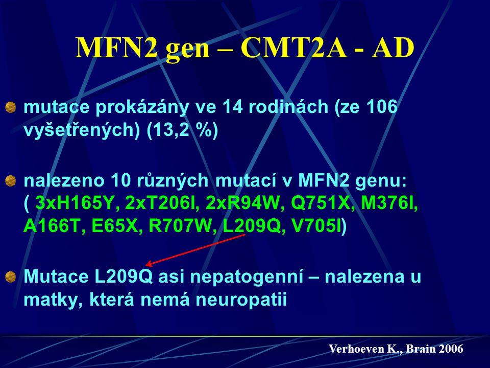 MFN2 gen – CMT2A - AD mutace prokázány ve 14 rodinách (ze 106 vyšetřených) (13,2 %)