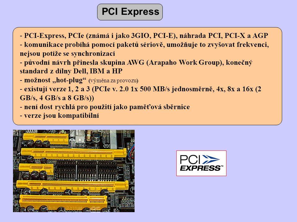 PCI Express PCI-Express, PCIe (známá i jako 3GIO, PCI-E), náhrada PCI, PCI-X a AGP.