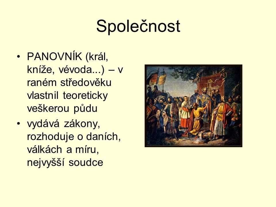 Společnost PANOVNÍK (král, kníže, vévoda...) – v raném středověku vlastnil teoreticky veškerou půdu.