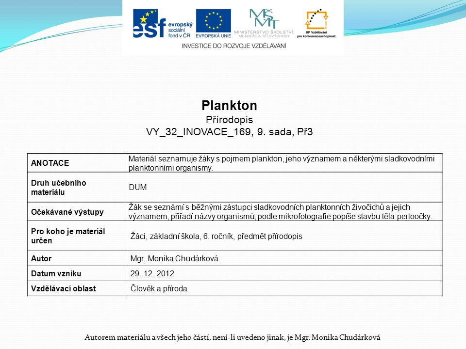 Plankton Přírodopis VY_32_INOVACE_169, 9. sada, Př3 ANOTACE