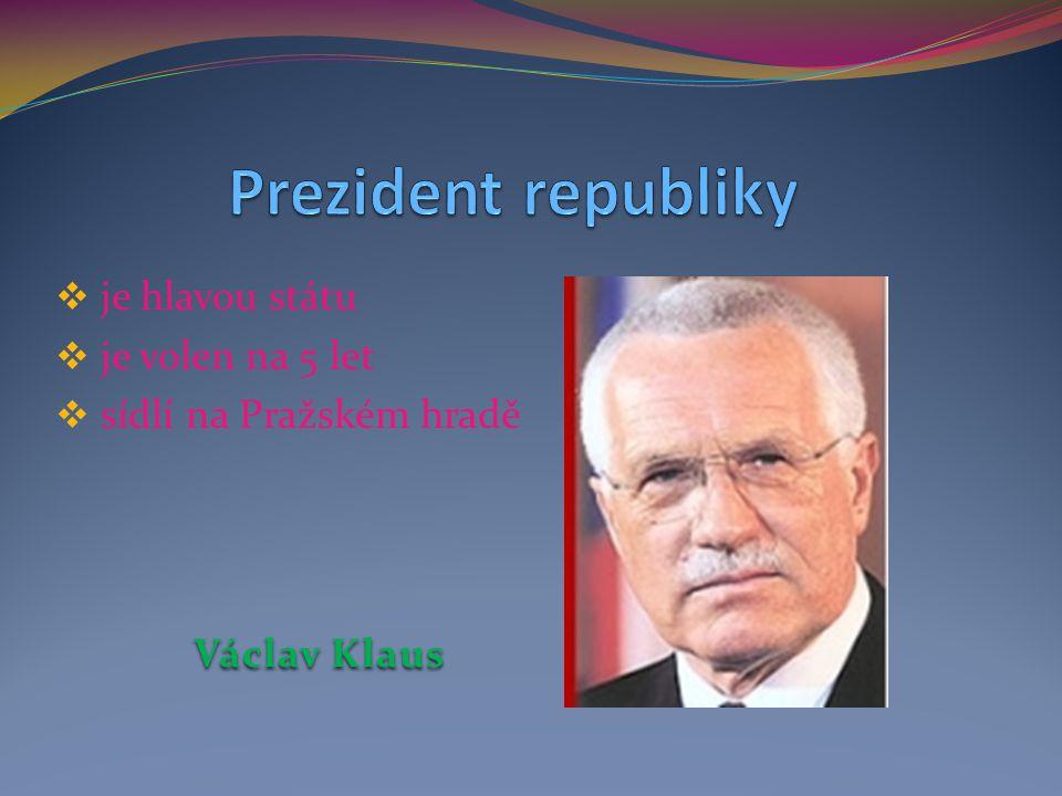Prezident republiky je hlavou státu je volen na 5 let