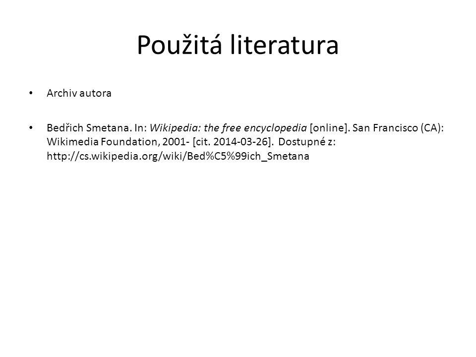 Použitá literatura Archiv autora