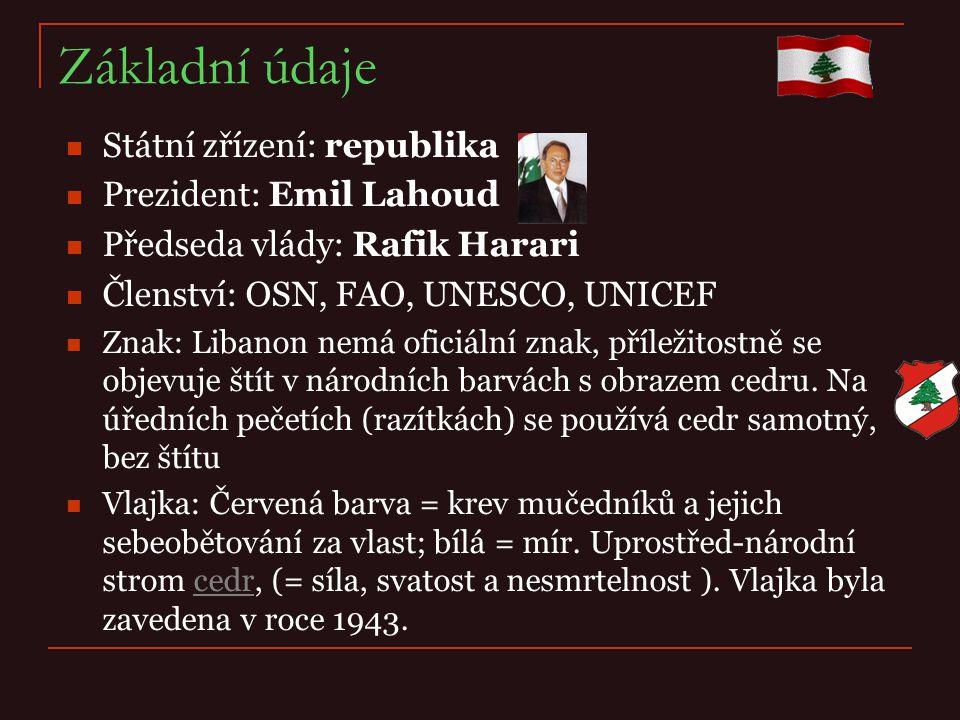 Základní údaje Státní zřízení: republika Prezident: Emil Lahoud