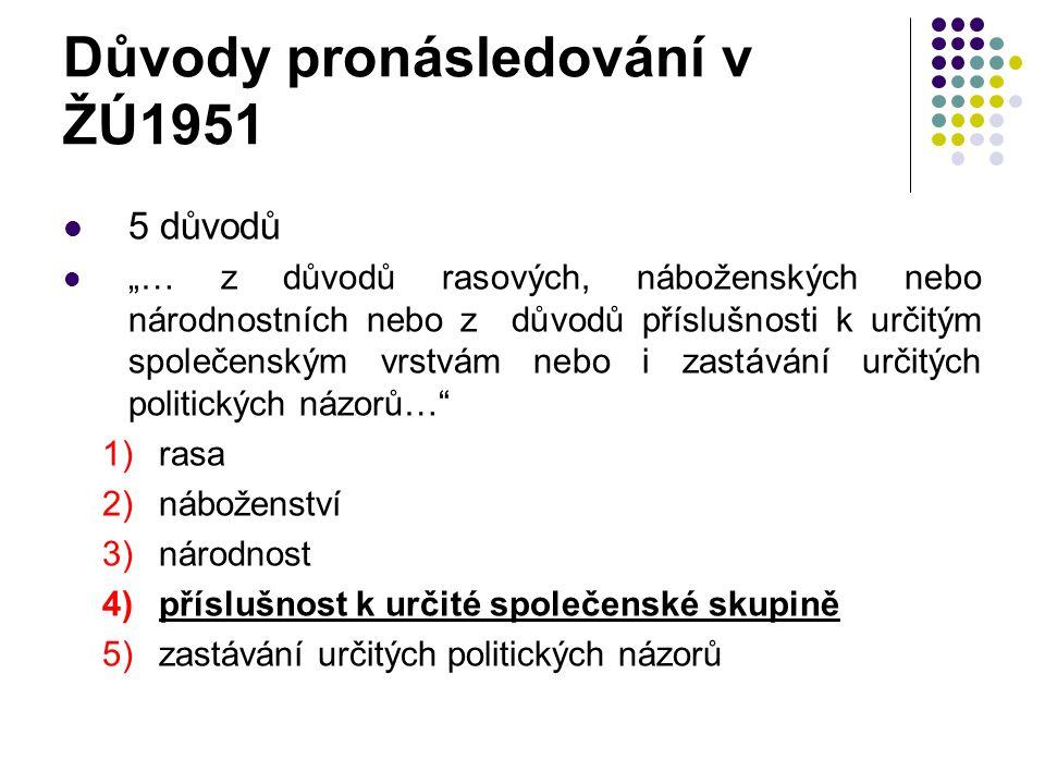 Důvody pronásledování v ŽÚ1951