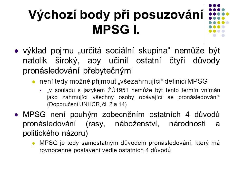 Výchozí body při posuzování MPSG I.