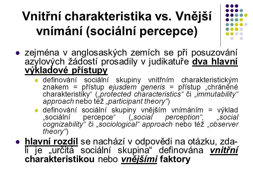 Vnitřní charakteristika vs. Vnější vnímání (sociální percepce)