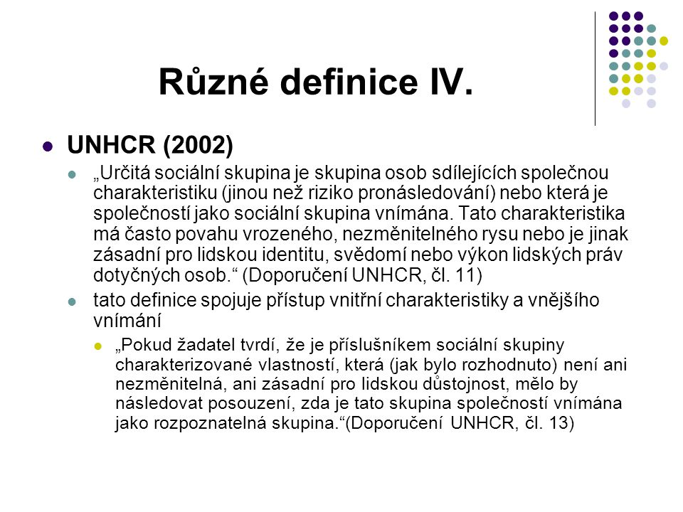 Různé definice IV. UNHCR (2002)