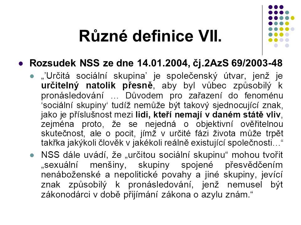 Různé definice VII. Rozsudek NSS ze dne 14.01.2004, čj.2AzS 69/2003-48