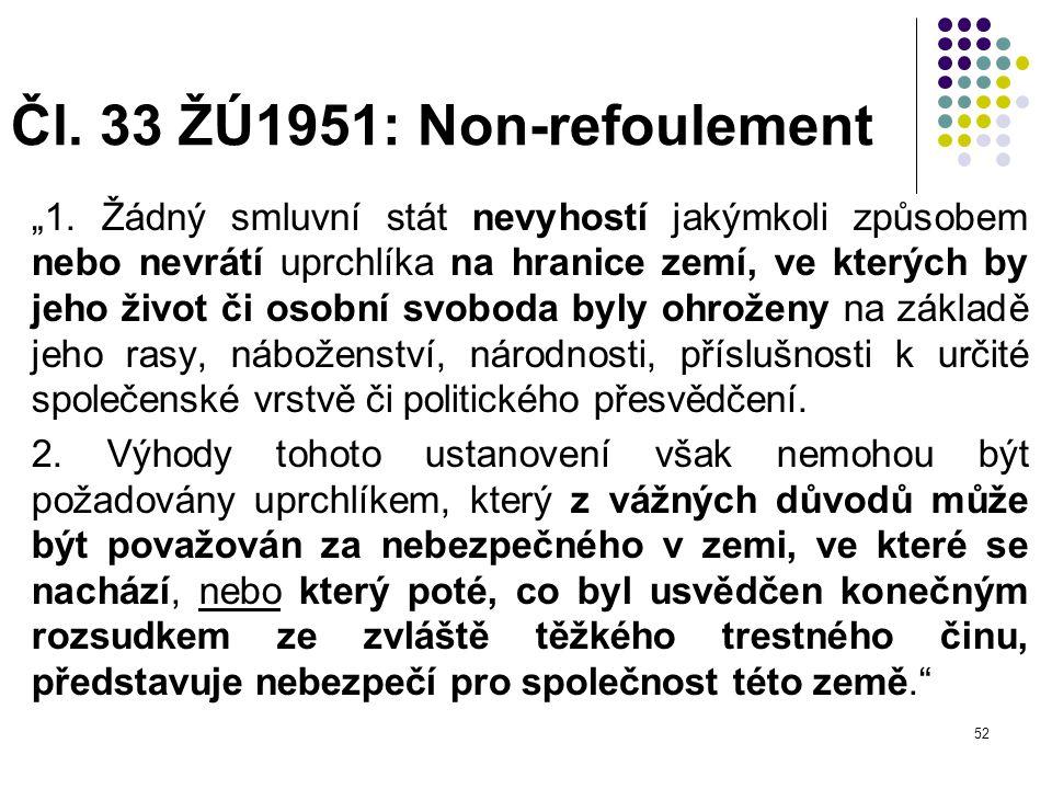 Čl. 33 ŽÚ1951: Non-refoulement