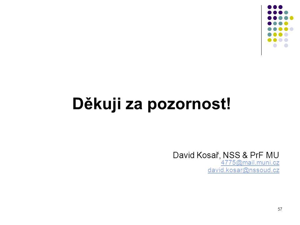 Děkuji za pozornost! David Kosař, NSS & PrF MU 4775@mail.muni.cz