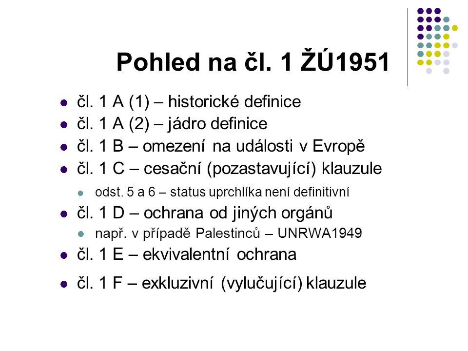 Pohled na čl. 1 ŽÚ1951 čl. 1 A (1) – historické definice