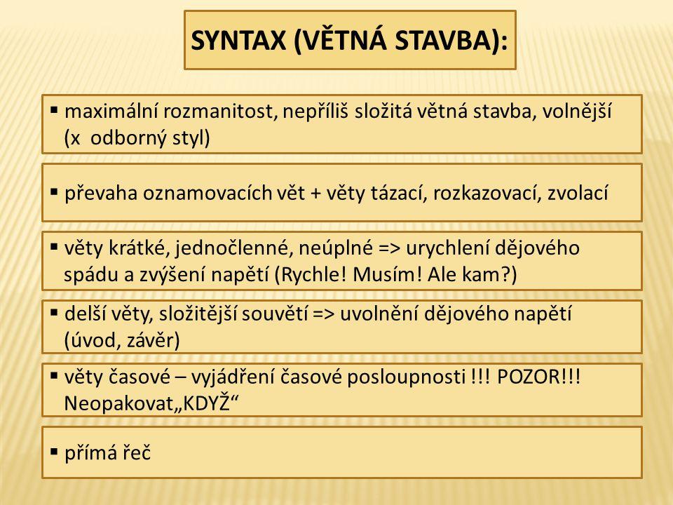 SYNTAX (VĚTNÁ STAVBA):