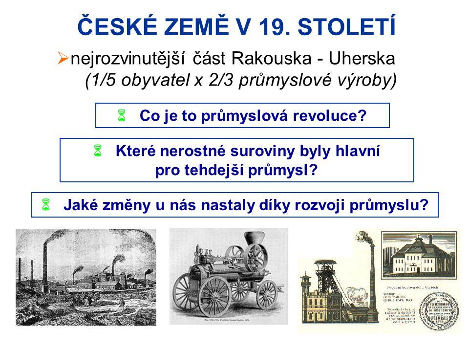ČESKÉ ZEMĚ V 19. STOLETÍ nejrozvinutější část Rakouska - Uherska
