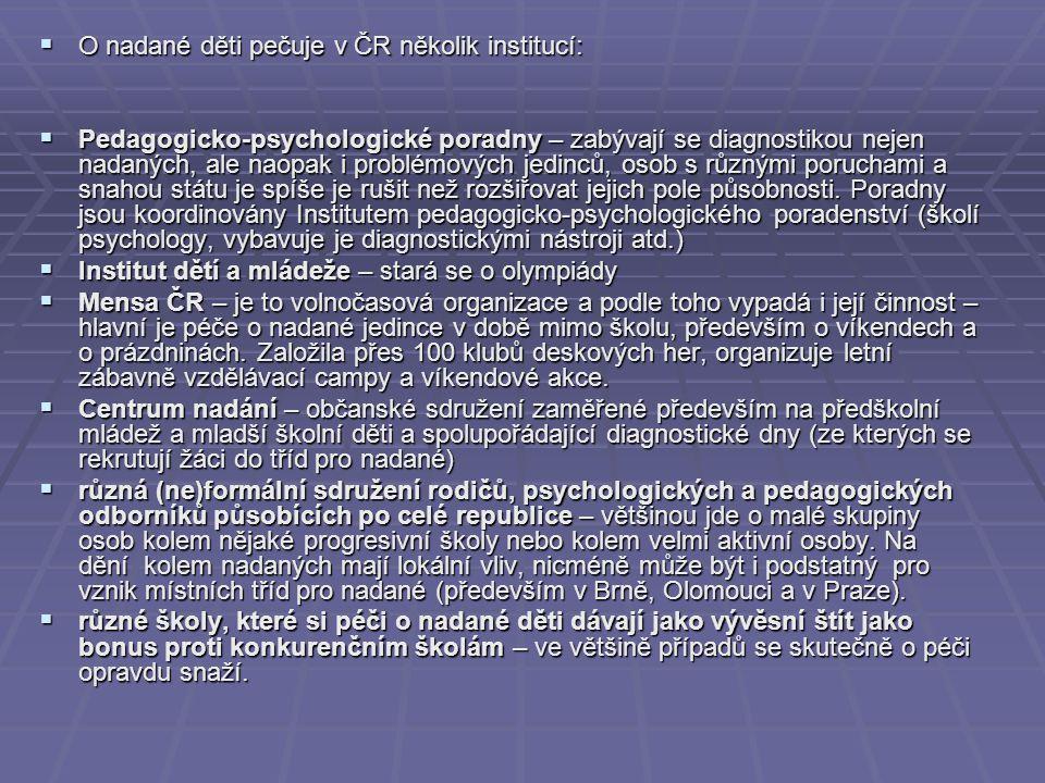 O nadané děti pečuje v ČR několik institucí:
