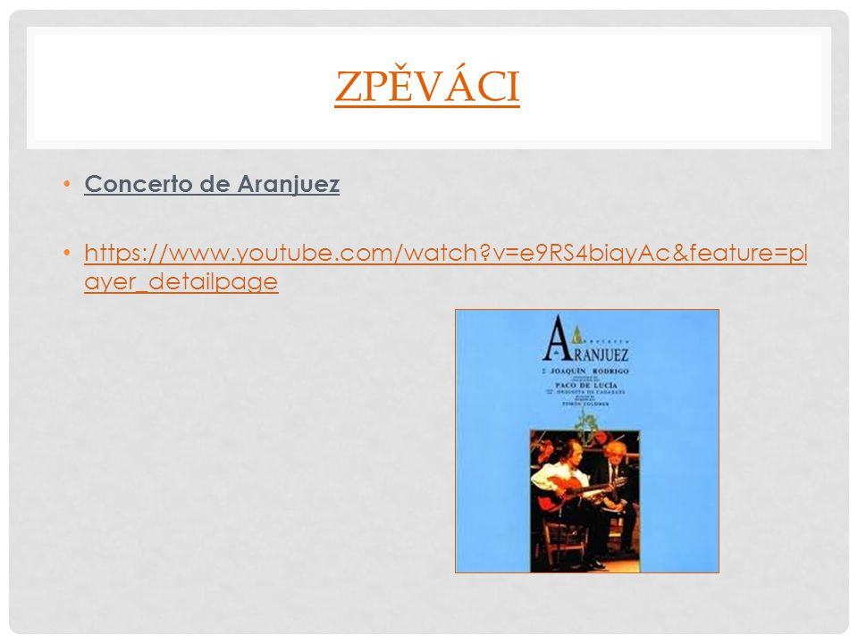ZPĚVÁCI Concerto de Aranjuez