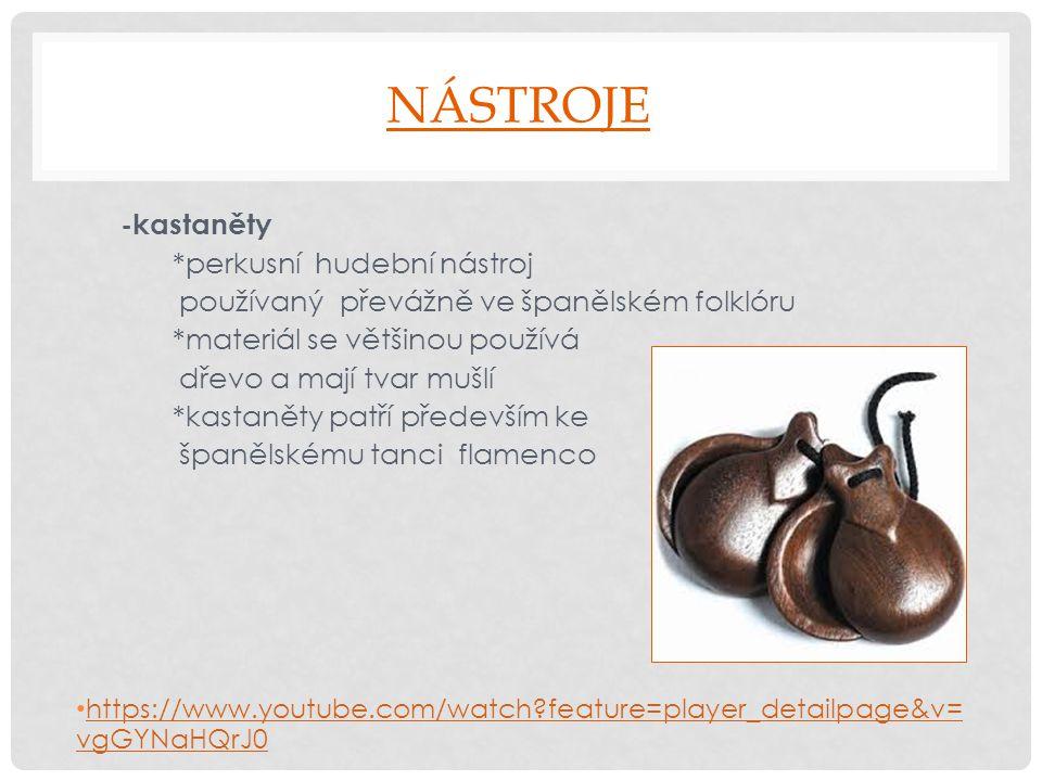 NÁSTROJE -kastaněty *perkusní hudební nástroj