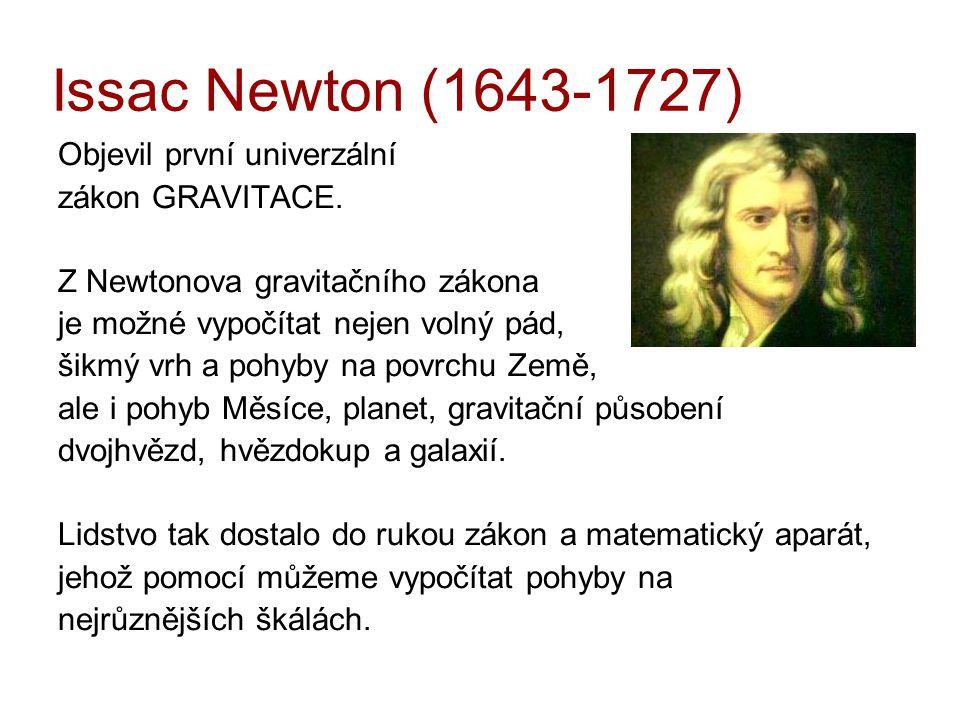 Issac Newton (1643-1727) Objevil první univerzální zákon GRAVITACE.