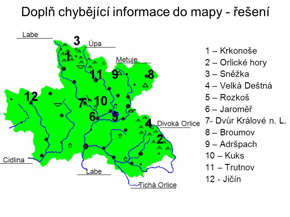 Doplň chybějící informace do mapy - řešení