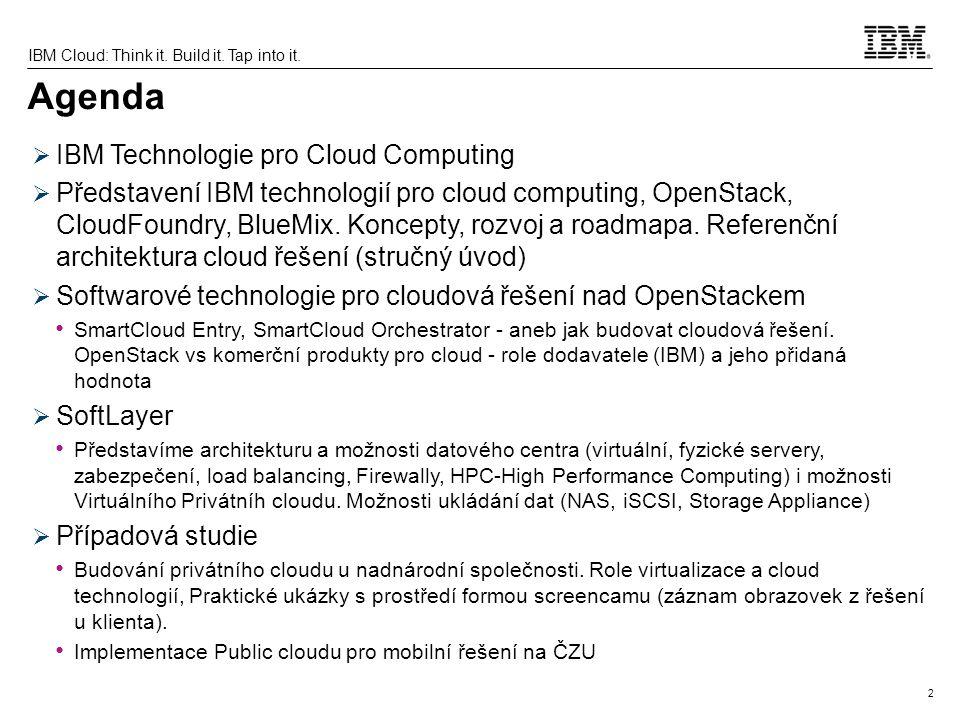 Agenda IBM Technologie pro Cloud Computing