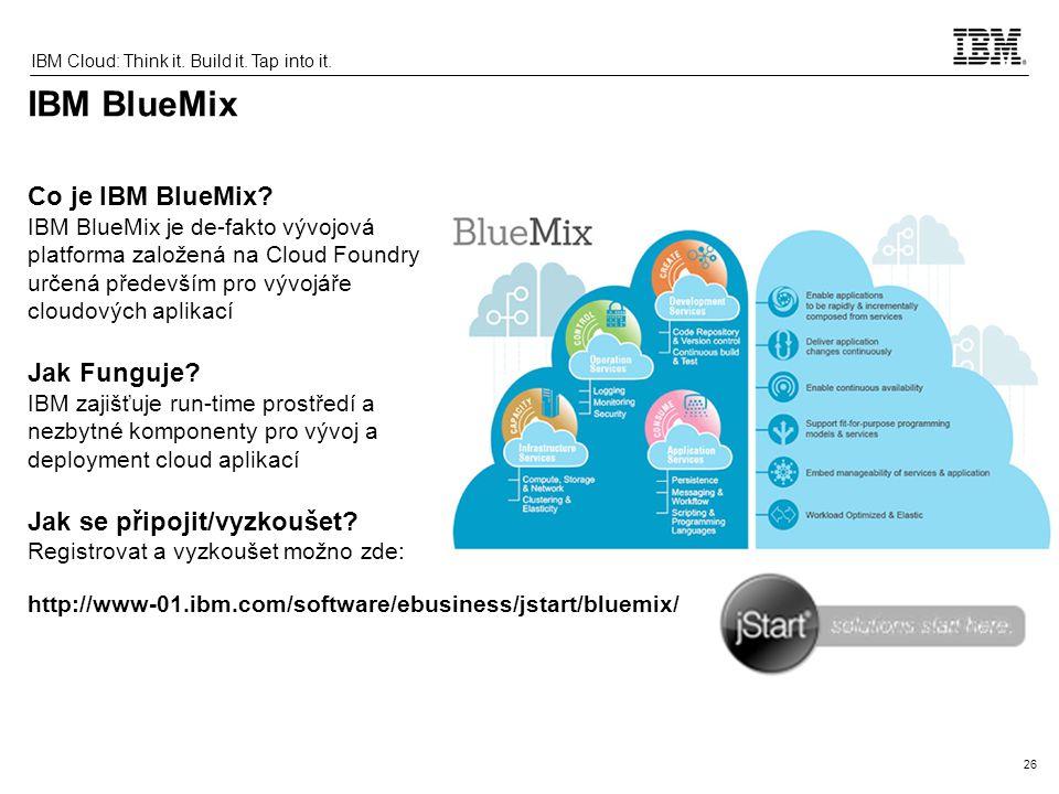 IBM BlueMix Co je IBM BlueMix Jak Funguje Jak se připojit/vyzkoušet