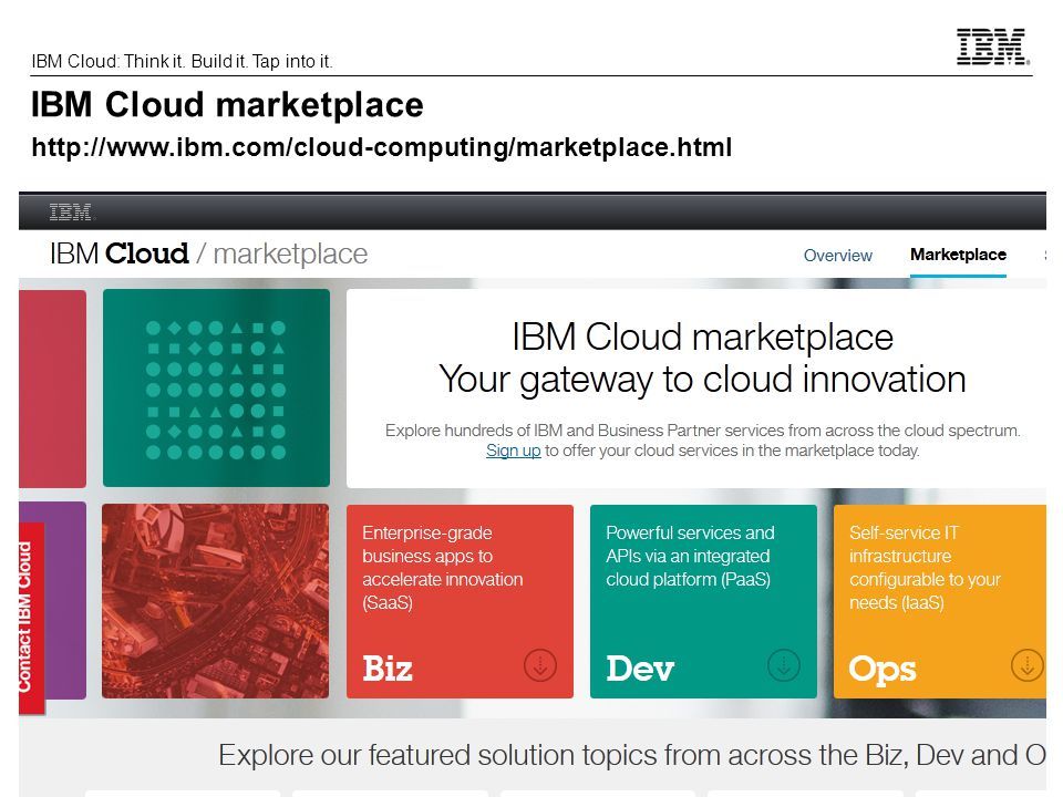 IBM Cloud marketplace http://www.ibm.com/cloud-computing/marketplace.html