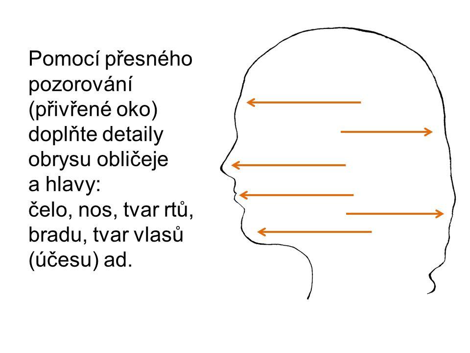 Pomocí přesného pozorování (přivřené oko) doplňte detaily obrysu obličeje a hlavy: čelo, nos, tvar rtů, bradu, tvar vlasů (účesu) ad.