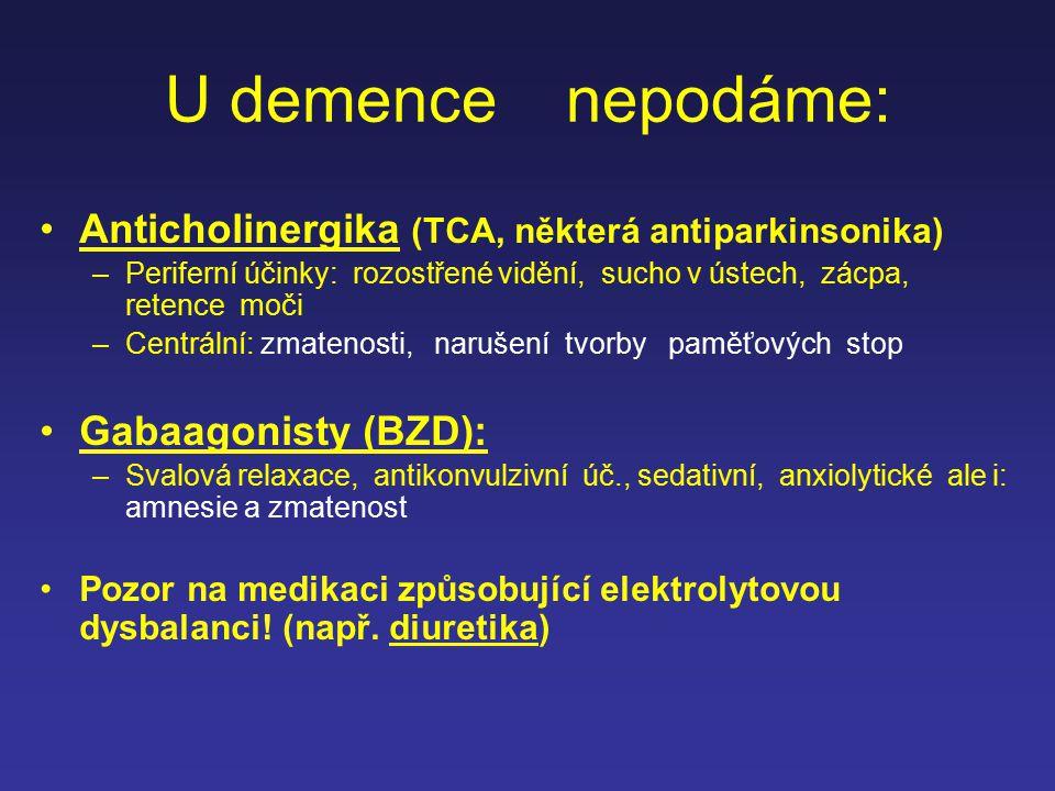 U demence nepodáme: Anticholinergika (TCA, některá antiparkinsonika)