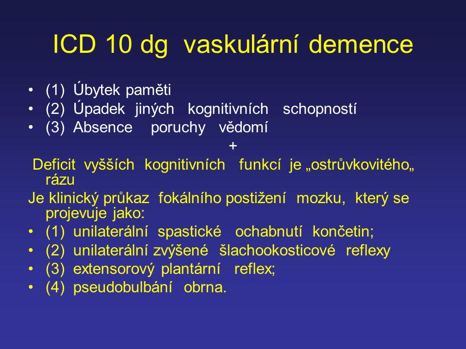 ICD 10 dg vaskulární demence