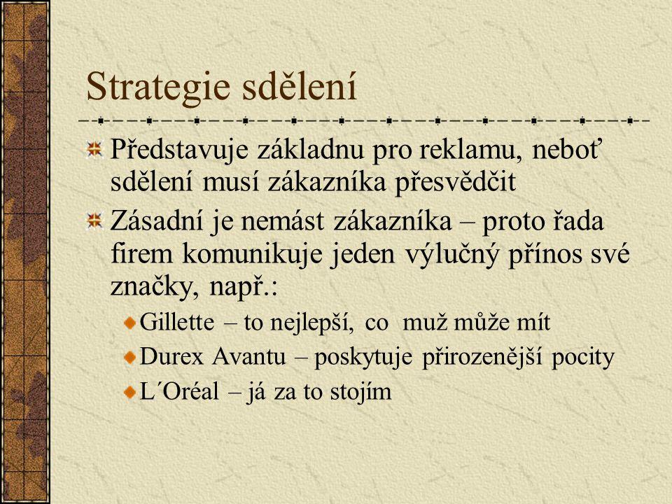 Strategie sdělení Představuje základnu pro reklamu, neboť sdělení musí zákazníka přesvědčit.