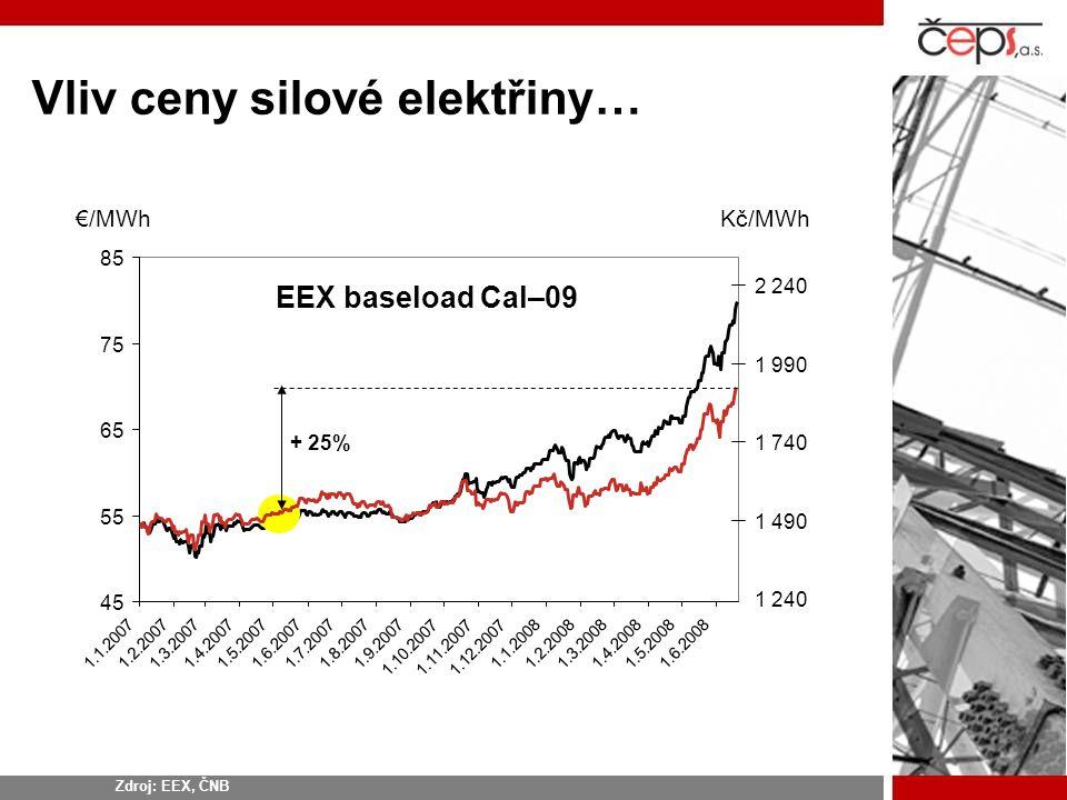 Vliv ceny silové elektřiny…