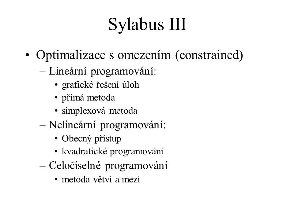 Sylabus III Optimalizace s omezením (constrained)