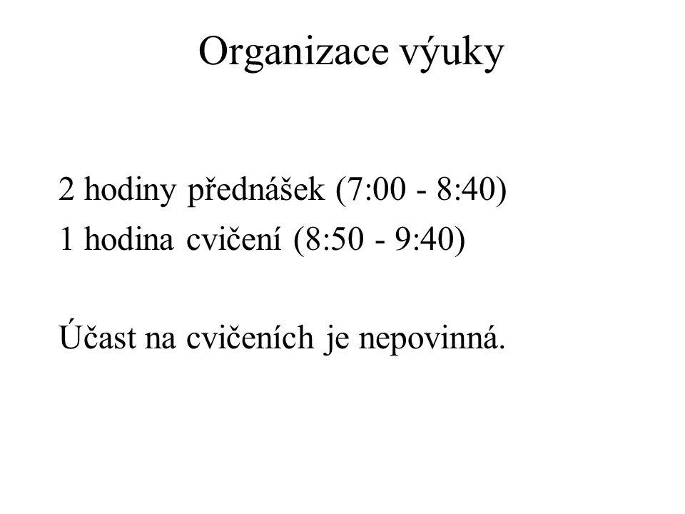 Organizace výuky 2 hodiny přednášek (7:00 - 8:40)