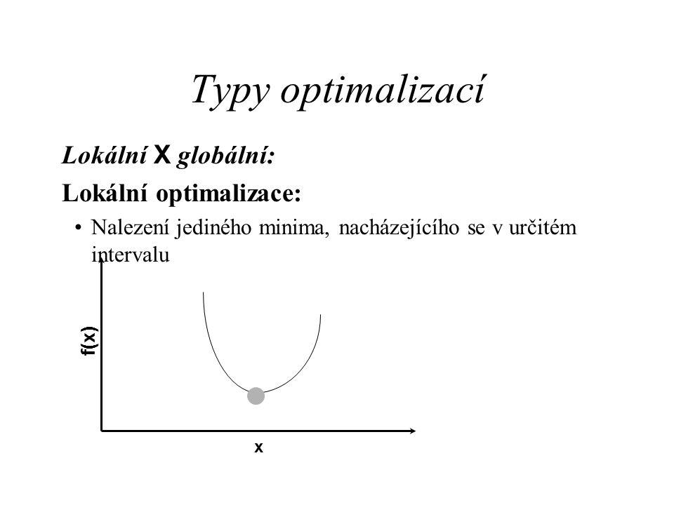 Typy optimalizací Lokální X globální: Lokální optimalizace: