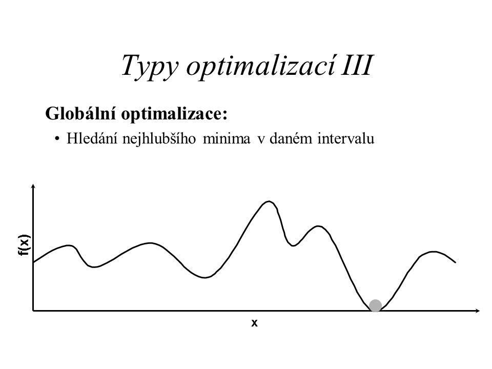 Typy optimalizací III Globální optimalizace: