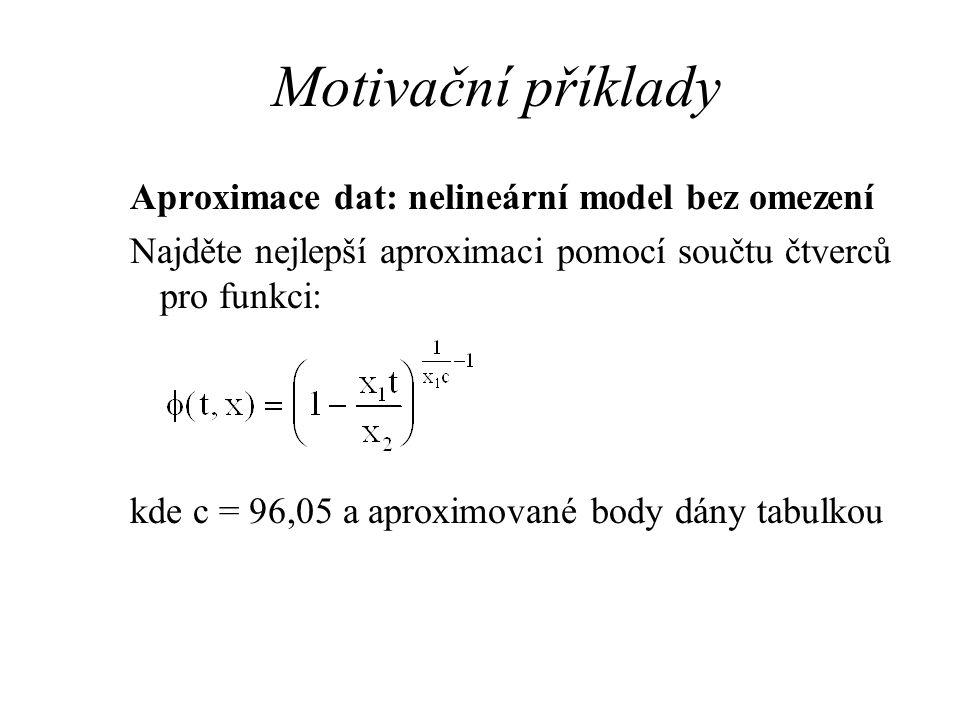 Motivační příklady Aproximace dat: nelineární model bez omezení